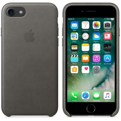 Apple iPhone 7 Leather Case - Storm Gray