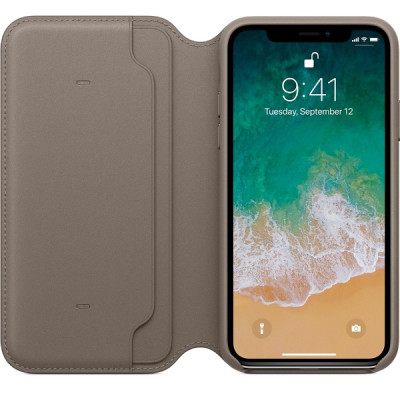 Apple iPhone X Leather Folio - Taupe