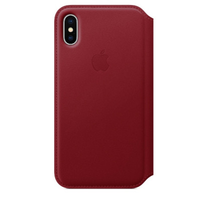 Apple iPhone X Leather Folio - Red