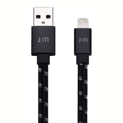 Just Mobile AluCable Flat Braided Lightning to USB Cable - Black
