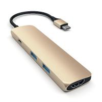 Satechi Aluminum Type-C Slim Multi-Port Adapter 4K - Gold