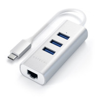 Satechi Type-C 2-in-1 USB 3.0 Aluminum 3 Port Hub and Ethernet Port - Silver