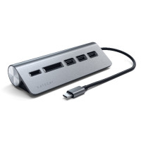 Satechi Type-C Aluminum USB 3.0 Hub & Card Reader - Space Grey