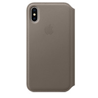 Apple iPhone X Leather Folio - Taupe