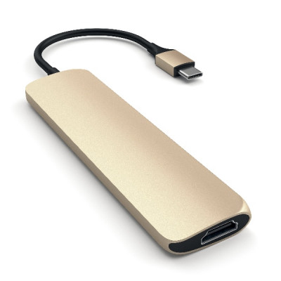 Satechi Aluminum Type-C Slim Multi-Port Adapter 4K - Gold