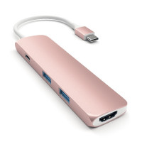 Satechi Aluminum Type-C Slim Multi-Port Adapter 4K - Rose Gold